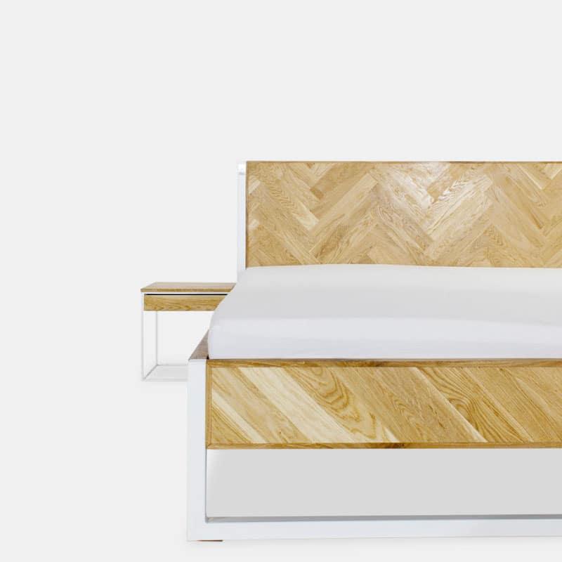 parkett eiche bett stahl und eiche n51e12 design manufacture. Black Bedroom Furniture Sets. Home Design Ideas