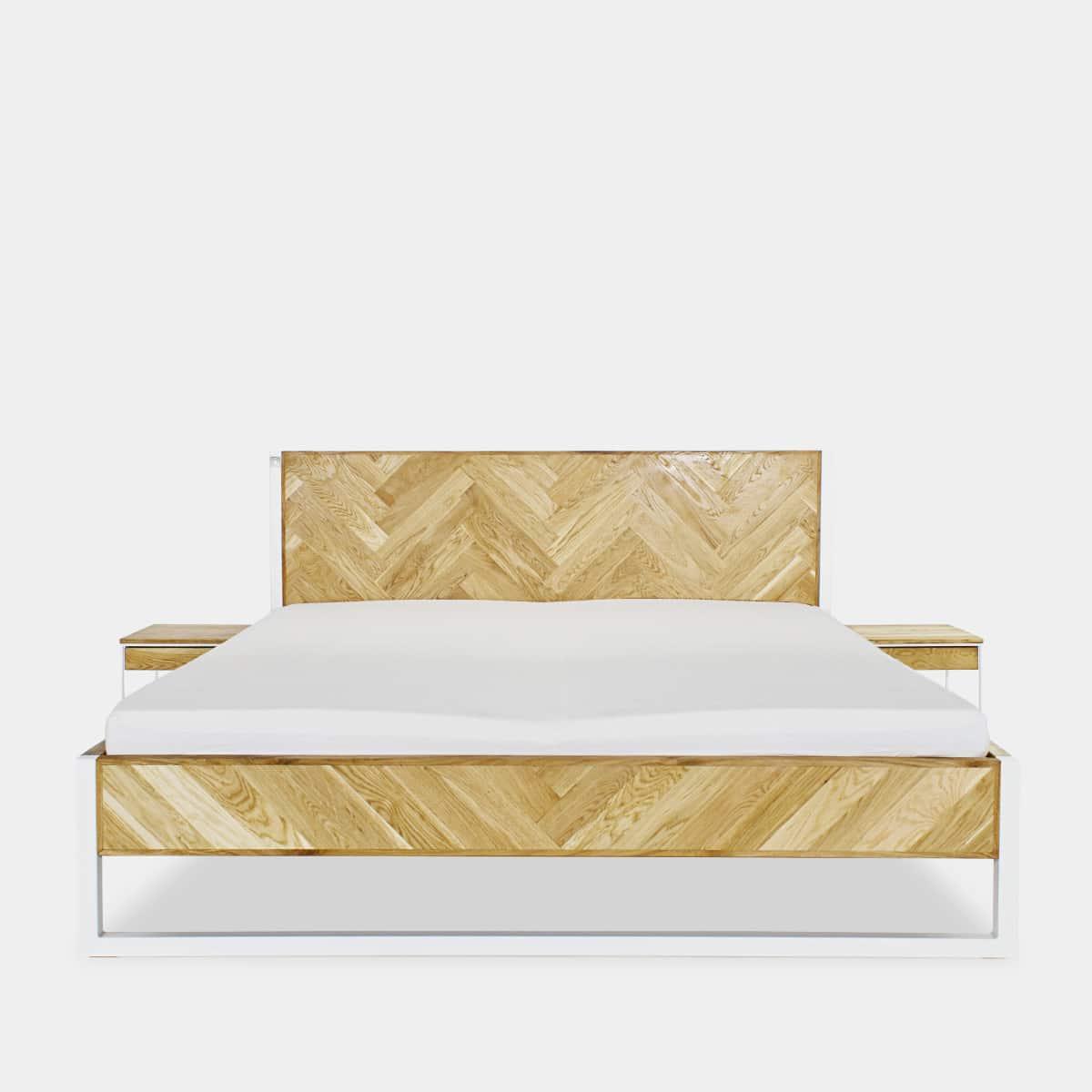 Parkett Eichen Bett aus Eiche und Stahl
