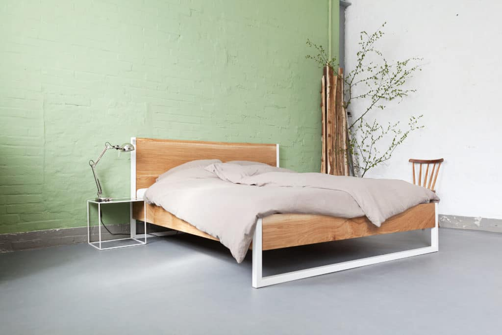 nature oak bed eiche und stahl n51e12 design manufacture. Black Bedroom Furniture Sets. Home Design Ideas