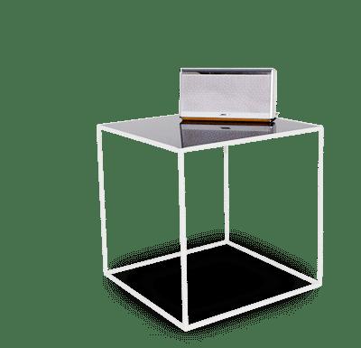 Couch Tisch aus Stahl und Glas