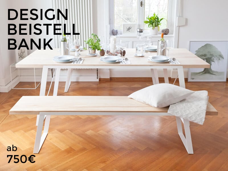 N51e12 design esstisch bank tisch stahl esche massivholz for Design tisch stahl