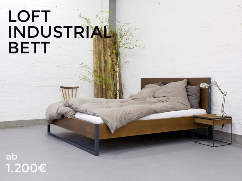 n51e12 loft vintage industrial bett massivholz stahl 17. Black Bedroom Furniture Sets. Home Design Ideas