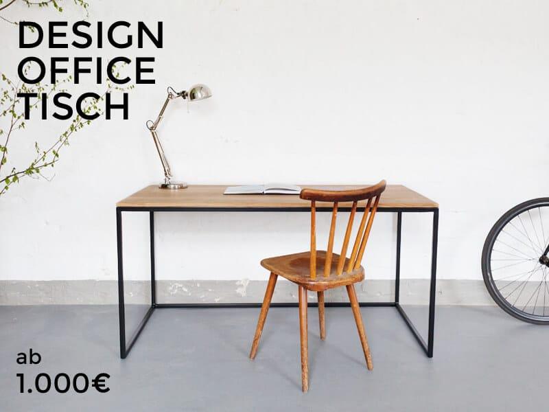 Design Schreibtisch für das Büro, perfekt für den Arbeitsaltag im Office, aus Stahl, Edelstahl, Massivholz, Eiche, ein Loft Bürotisch, Handarbeit und Individuell hergetestellt