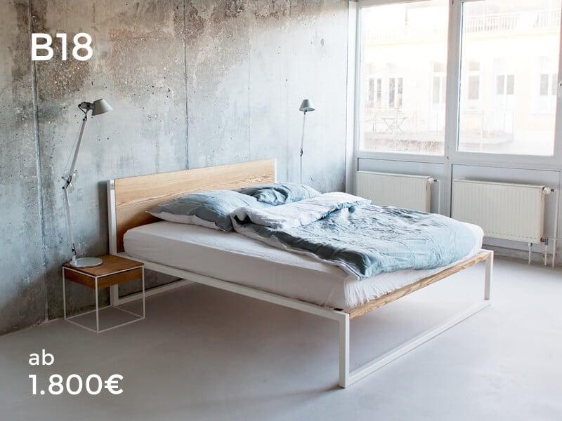 B18 Design Bett - Bettgestell aus Massivholz Eiche, Esche, Buche, Designbett fürs Schlafzimmer, Edelstahl oder Stahl kombiniert mit Echtholz, Leder, Baumwolle. Individualisiertere Betten für Loft Liebhaber. Ein Wohnraum zum verlieben. Modernes Design gespart mit Handarbeit. Bauholz zum schlafen, Design aus Berlin und Frankfurt.