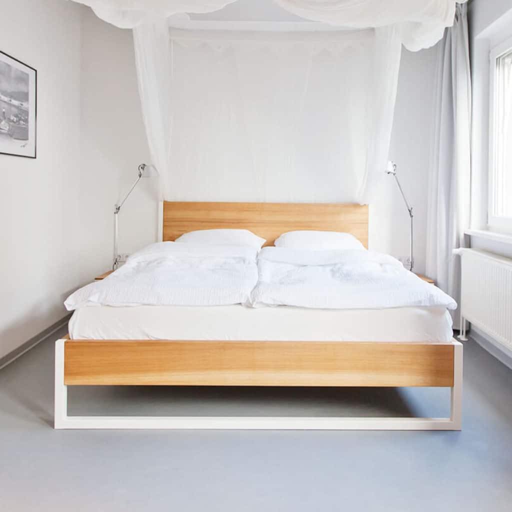 N51E12 Massivholzbett, Bettrahmen, Doppelbett, Bettgestell, Massivholz Eiche, Stahlrahmen, Stahlbett, Loftbett, Stahl, Schlafzimmer, 180x200, Esche