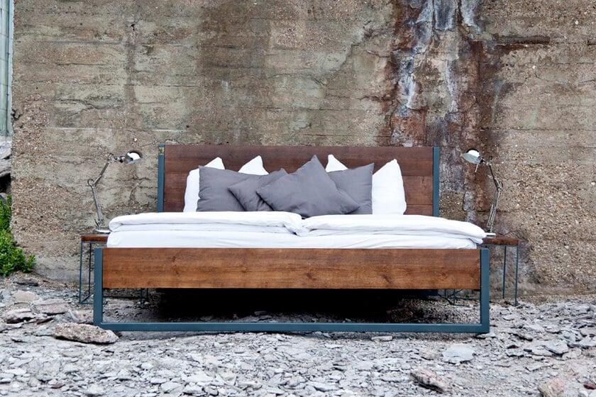 N51E12 Loft Vintage Industrial Bett aus Massivholz Buche, Bettgestell aus Echt-Holz, Doppelbett, Bettgestell und Bettrahmen in Handarbeit gerfertigt