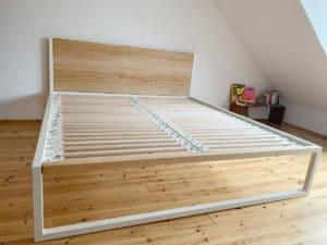 N51E12 - B18 - desginbett, stahlbett, loft, loftbet, doppelbett, bettgestell, bettdesign, metallbett, designerbett, massivholzbett, eiche