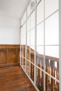 N51E12 Stahl Loft Tür, Glaswand, Glastrennwand, Raumtrenner, Stahl, RAL 9010 Reinweiss, Lofttür, Bauhaus Design