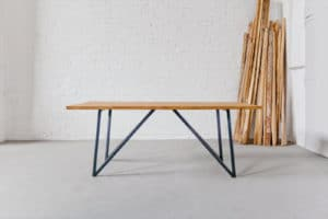 N51E12 - Design Esstisch aus Masivholz Esche und Stahlgestell, Stahl, Esszimmer, Lofttisch