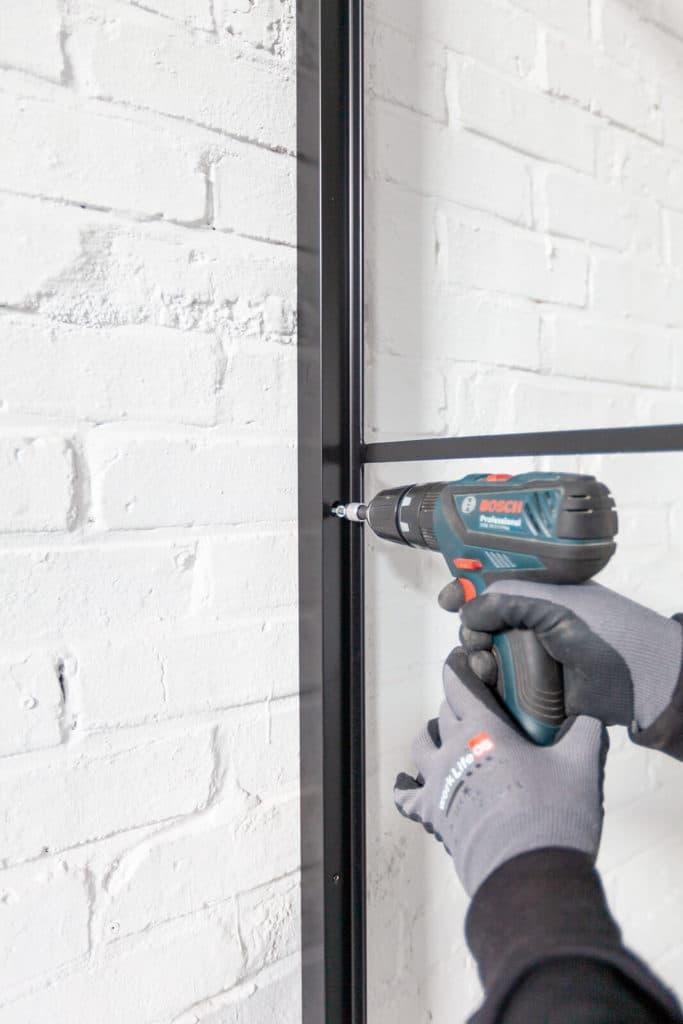 N51E12 - Stahl Loft Glas Element, Trennwand, Windfang, Einzelteile, Stahlrahmen, Montage, Stahl-Loft-Tür, Stahltüren, Konstruktion, Einbau