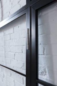 3D-einstellbares Scharnier, Simonswerk VX Band, N51E12 Stahl Loft Tür, Glaswand, Glastrennwand, Raumtrenner, Stahl, RAL 9005 Tiefschwarz, Lofttür, Bauhaus Design