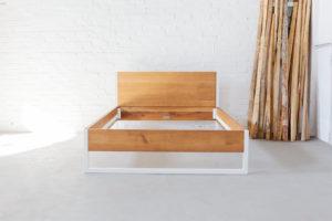 N51E12 Design Bett aus Massivholz Eiche und Stahl, Stahlgestell, Bettgestell, Echtholz, Eiche, Loft Bett, Doppelbett, 140x200
