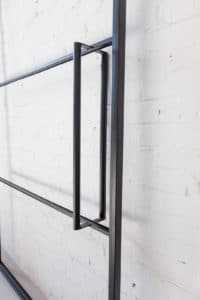 N51E12 Stahl Loft Schiebetür - aus Stahl und Glas - Windfang- industrielle Laufrollen, Industrial Style, Bauhaus Design, Bauhaustür