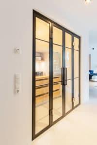 N51E12 Stahl Loft Doppeltür, Schwingtür, Lofttuer, Raumtrenner, Glastrenndwand, Glaswand, Stahl-Glas-Trennwand, Windfang