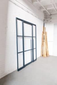 N51E12 Stahl Loft Tür, Glaswand, Glastrennwand, Raumtrenner, Stahl, RAL 7016 Anthrazit, Lofttür, Bauhaus Design, Pendeltür, Schwingtür