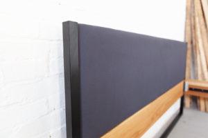 N51E12 Designbett aus Massivholz Eiche und Stahl, gepolsterter Rückwand, Rückwand aus Baumwolle, Baumwolle , Eiche, Bettrahmen, Bettgestell, Doppelbett, 180x200