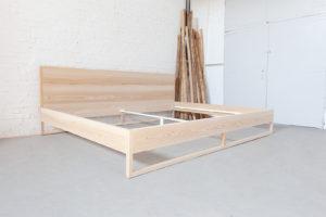 N51E12 Pure Ash Familienbett Massivholzbett aus Massivholz Esche, Loft Bett, Bettrahmen, Bettgestell, Esche