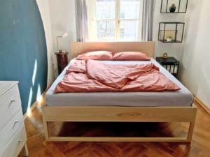 N51E12 - Massivholz Esche, Doppelbett, Designbett, Massivholzbett, Loftbett, Betten, Bettgestell