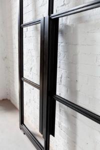 N51E12 - Stahl Loft Doppeltür, Loft Tür, Pivottür, Schwingtür, Windfang, Glastrennwand, Lofttür, Baushausstyle, Bauhaustür, Glastür, Stahltür