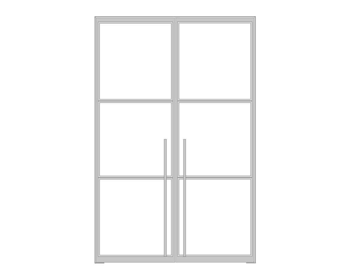 N51E12 Stahl Loft Doppeltür - Zeichnung - Darstellung Raumtrenner, Schwingtür, Windfang, Bauhaus Design, Lofttür, Stahltür, Glastrennwand