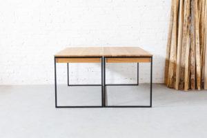 N51E12 Design Schreibtisch mit Schubladen und Stahlgetell, Eiche Massivholzplatte, Massivholz, Eiche, RAL 9005 Tiefschwarz Matt