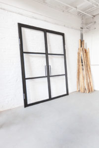 N51E12 Stah Loft Tür, Doppeltür, Windfang, Glastrennwand im Bauhaus Design, Stahl Tür, Raumternner, Raumteiler, Windfang, absenkbare Bodendichtung, Bauhaustür
