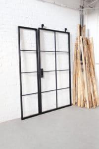 N51E12 Stahl Loft Tür, Schiebetür aus Stahl und Glas, Lofttür, Loft Glas Element, Raumtrenner, Windfang, Glastrennwand