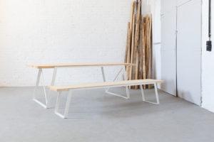 N51E12 Design Esstisch aus Massivholz Esche, Tisch, Massivholztisch mit Stahl kombiniert, Designtisch, Tischgestell, Designtisch
