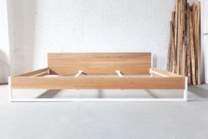 N51E12 - Familienbett für die Familie, Massivholzbett, Eiche, Massivholz, Stahlrahmen, Stahlgestell, Metallrahmen, Bettrahmen, 280x200, Designbett, Echtholz