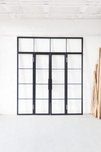 N51E12 Stahl Loft Tür, Doppeltür, Glastrennwand, Raumtrenner, Loft, Lofttür, Loft Door, Stahlrahmen, Glastrennwand, Drehtür