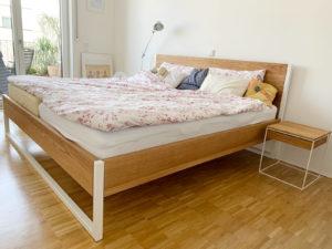 N51E12 - Cash Back Aktion - Nature Oak Bett aus Eiche und Stahl, Massivholzbett, Stahlgestell, Stahlrahmen, Loftbett, Loft, Echtholz