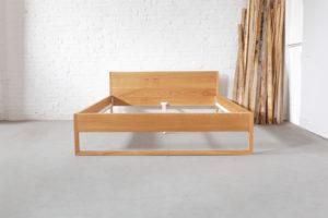 N51E12 Pure Oak Bett, Massivholzbett aus Echtholz Eiche, Bettgestell, Bettrahmen, Designbett, Loftbett, Eichenbett, 180x210, Übergröße, Sondergröße, Überlänge