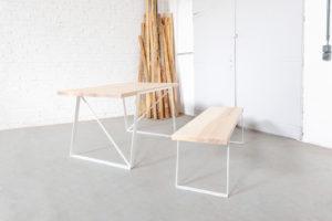 N51E12 Design Esstisch aus Massivholz Esche, Stahlrahmen, Stahlgestell, Tisch, Esszimmer, Dinnertisch, Bürotisch, Konferenztisch, Loft, Lofttisch, Essen, 160x80