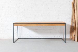 N51E12 Design Schreibtisch mit Schublade, Loft Tisch, Tisch, Tischgetstell, Stahlgestell, Eiche, Massivholztisch, 200x75