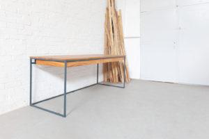 N51E12 Design Schreibtisch mit Schublade, Loft Tisch, Tisch, Tischgetstell, Stahlgestell, Eiche, Massivholztisch