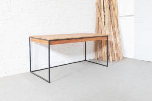 N51E12 Design Schreibtisch mit Schublade, Loft Tisch, Tisch, Tischgetstell, Stahlgestell, Eiche, Massivholztisch, 160x80