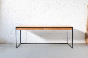 N51E12 Design Schreibtisch aus Stahl und Massivholz Eiche, Bauhaus Tisch, Office, Bürotisch, Homeoffice, Stahltisch, Stahlgestell, 200x80