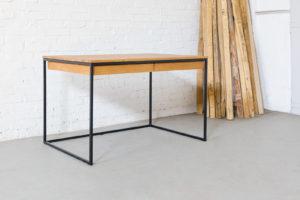 N51E12 Design Schreibtisch mit Schublade, Massivholz, Eiche, Stahlrahmen, Lofttisch, Office, Schublade, Stauraum