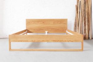 N51E12 - Massivholzbett aus Esche, Massivholz, Loftbett, Doppelbett, Designbett, Bettrahmen 200x210, Bettgestell, Schlafzimmer, Bettgestell, Überlänge, Sondergröße