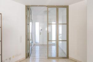 N51E12 Stahl Loft Tür, Falttür, Drehtür, Glastrennwand, Loftwand, Windfang, Glaswand, Raumtrenner, Flurtür, Steel Door, Industrial Door