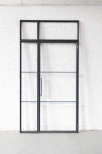 N51E12 Stahl Loft Tür, Drehtür mit Seitenteil und Oberlicht, Lofttür, Steel Door, Industrial Door, Glastrennwand, Raumtrenner, Flurtür, Durchgangstür, Industrial Design, Bauhaus Tür, Deisgntür, Glastür, Stahltür