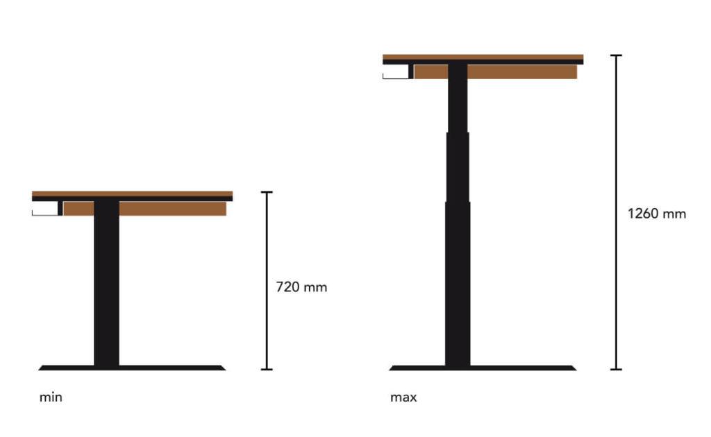 N51E12 - höhenverstellbarer Schreibtisch, Design Schreibtisch, Massivholz, Stahl, Eiche