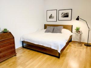 N51E12 Nature Oak Bett, Designbett, Massivholzbett aus Massivholz Eiche und Stahl, Stahlrahmen, Metall, Metallrahmen, Loft, Loftbett, Designbett, Bett, Bettgestell