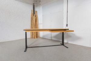N51E12 Smart elektrisch höhenverstellbarer Schreibtisch aus Massivholz Eiche und Stahl, Stahlrahmen, Stahlgestell, Metall, Metallrahmen, Office, Schreibtisch, Bürotisch, Lofttisch, Loft, 200x80