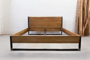N51E12 180x200 Nature Oak Bett aus Massivholz Eiche, Massivholzbett, Loftbett, Doppelbett, Stahlrahmen, Stahlbett, Metallbett, Metallrahmen, Bettrahmen, Loftbett, Loft