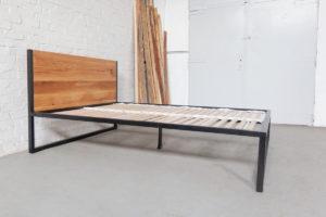N51E12 Designbett Massivholzbett, Betthimmel aus Stahl, Metallrahmen, Loftbett, Massivholz, Eiche, 160x200, Stahlrahmen, Metallrahmen