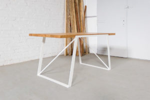 N51E12 Design Esstisch aus Massivholz Eiche, Stahlrahmen, Stahlgestell, Tisch, Esszimmer, Dinnertisch, Bürotisch, Konferenztisch, Loft, Lofttisch, Essen, 160x80