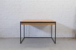 N51E12 Design Schreibtisch mit Schubladen, Massivholz Eiche, Stahlrahmen, Stauraum, Loft, Bürotisch,140x75, Kabelkanal