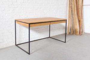 N51E12 Design Schreibtisch mit Schubladen, Massivholz Eiche, Stahlrahmen, Stauraum, Loft, Bürotisch,140x75