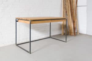 N51E12 Design Schreibtisch mit Schubladen, Massivholz Eiche, Stahlrahmen, Stauraum, Loft, Bürotisch,140x75v